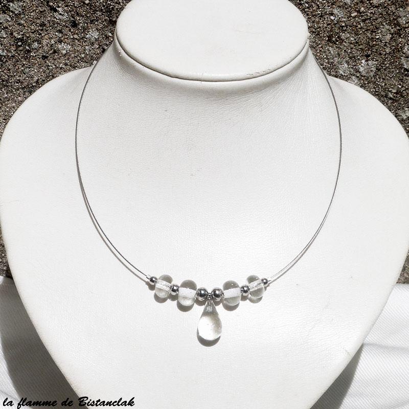 Collier transparent artisanal goutte de verre et perles rondes