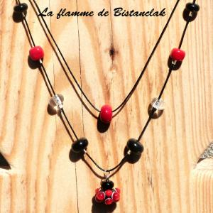 Collier virus double rang rouge noir 3