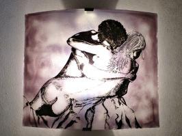 applique romantique motif couple nu enlacé