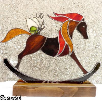 Déco vitrail tiffany Cheval à bascule et papillon sur commande