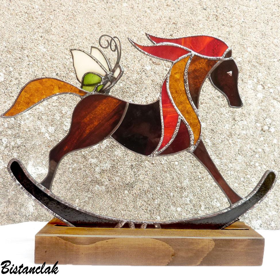 Décoration Cheval à bascule - vitrail tiffany