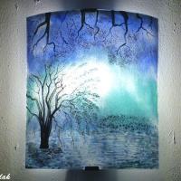 Creation luminaire applique artisanale paysage bleu et turquoise