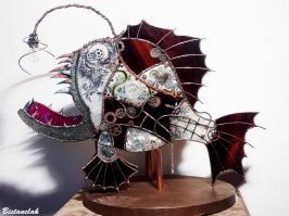Creation poisson steampunk en vitrail tiffany