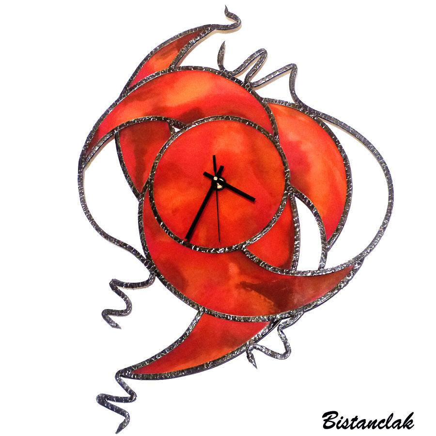 Creation sur mesure horloge vitrail originale rouge orange