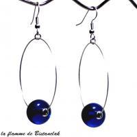 Creole et perle de verre file bleu roi creation artisanale ardeche