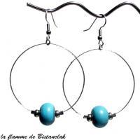 Creoles et perles de verre turquoise bijou artisanal par bistanclak