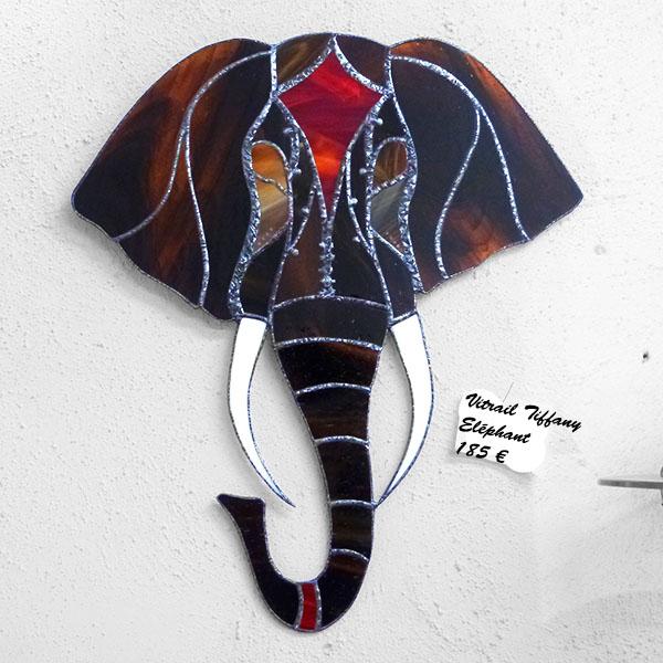 Décoration éléphant - Vitrail Tiffany