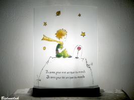 Decoration lumineuse lampe artisanale au motif du petit prince et sa fleur