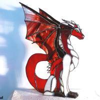 Decoration vitrail dragon