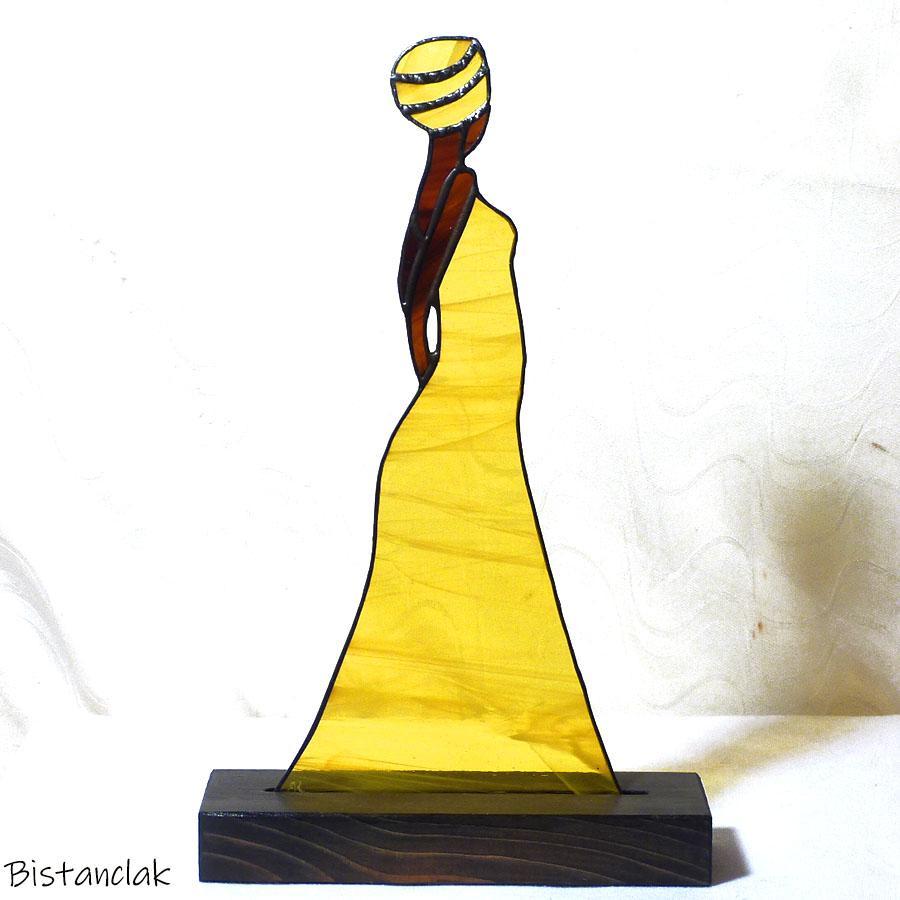 Decoration vitrail personnage femme au turban jaune