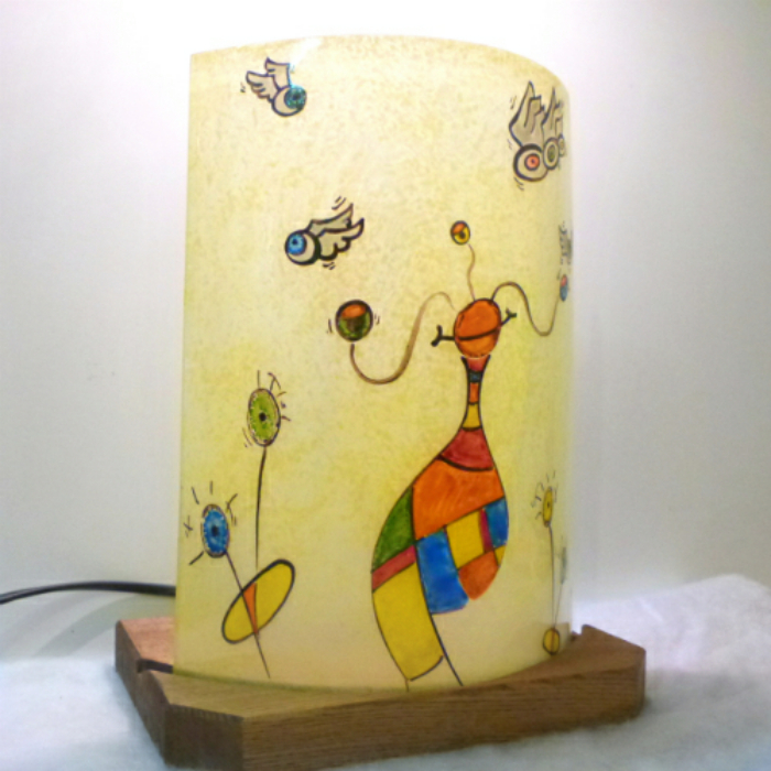 Demi lampe multicolore globule et les gros noeil 2