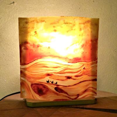 """Lampe sable orange """"Dans les dunes"""""""