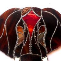 Detail de la decoration murale tete d elephant en vitrail vendue en ligne sur notre site
