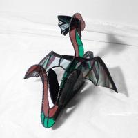 Dragon vitrail tiffany de couleur rose vert et iridescent 10