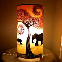 lampe cylindrique éléphants
