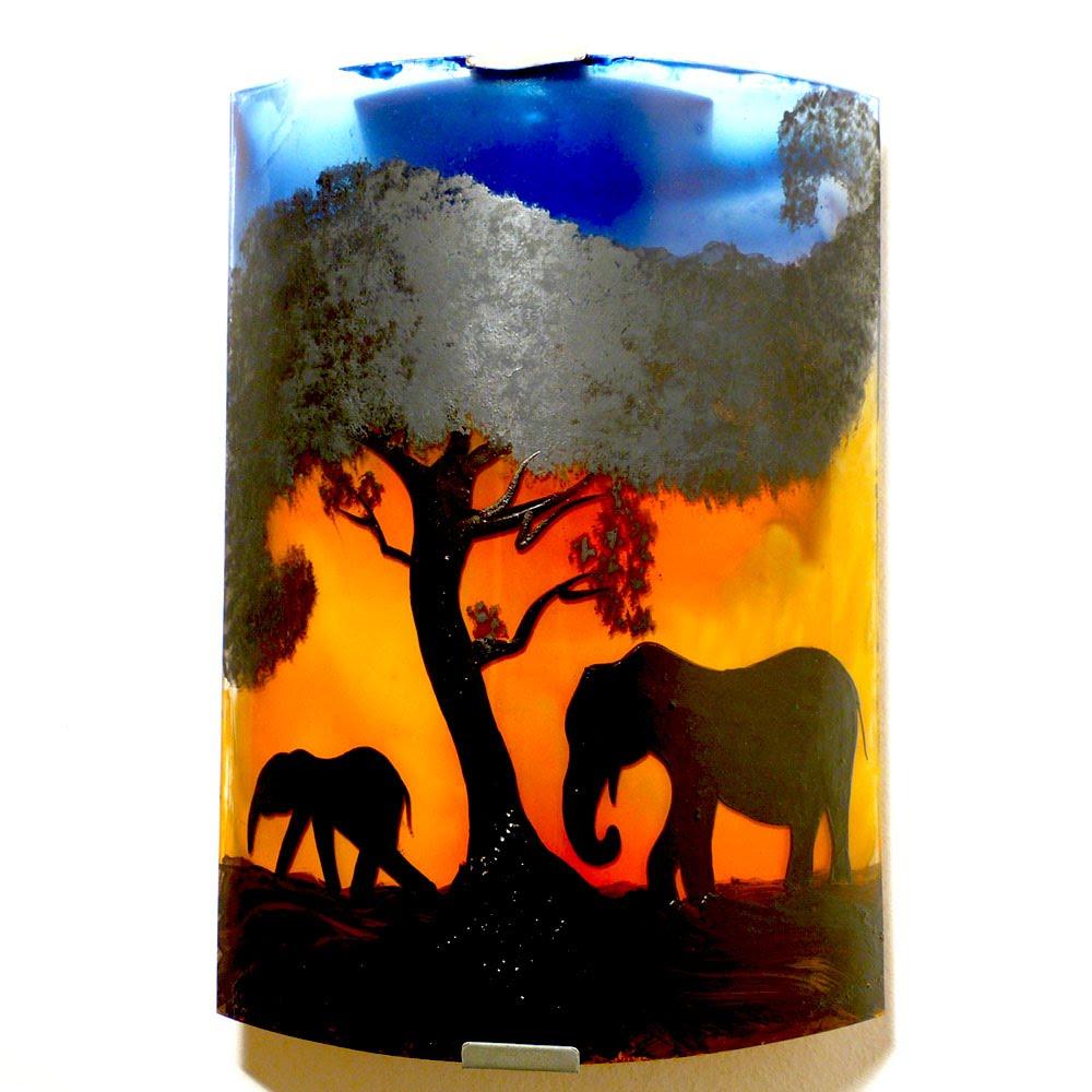 applique d'ambiance jaune orange bleu motif éléphant