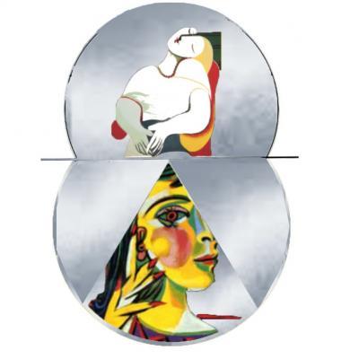 création horloge sur commande, thème Picasso / femme