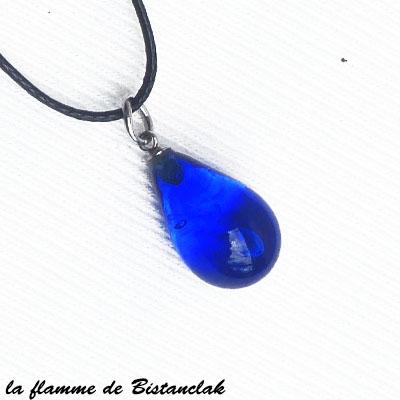 Goutte de verre artisanale bleu roi transparent