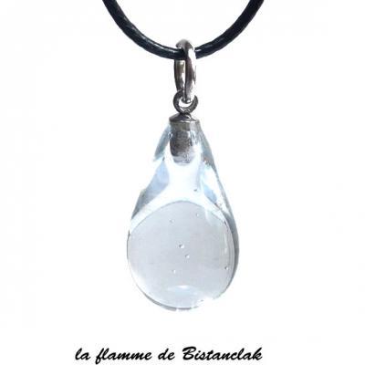 Collier pendentif goutte de verre transparente incolore