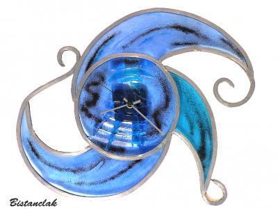 Horloge vitrail Arabesque bleu et turquoise
