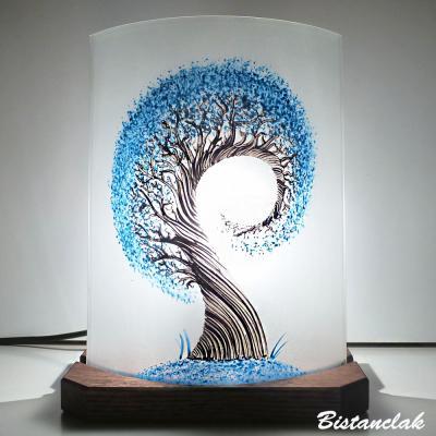 Lampe à poser décorative L'arbre spiralement bleu