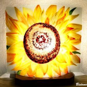 Lampe décorative a poser motif fleur de tournesol, une création artisanale française