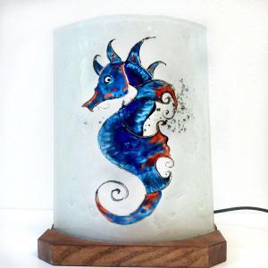 Lampe a poser hippocampe bleu et orange 3