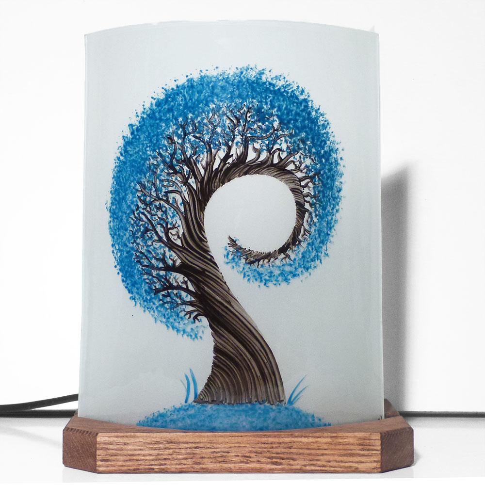 Lampe a poser l arbre spiralement bleu 1