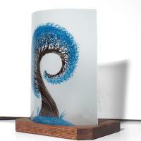 Lampe a poser l arbre spiralement bleu