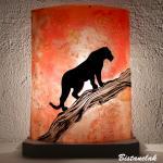 Lampe a poser orange motif panthere
