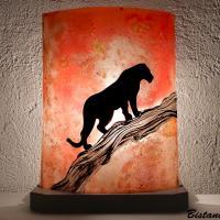 luminaire décoratif orange motif panthère