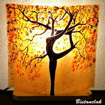 Lampe sable orange motif arbre danseuse