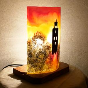 Lampe a poser temple jaune orange rouge 4