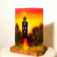 Lampe a poser temple jaune orange rouge 6