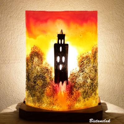 Lampe d'ambiance en verre orange, jaune et rouge motif Temple