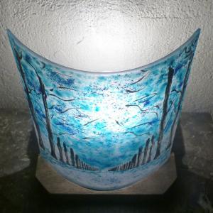 Lampe allee d arbre bleu