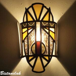 Lampe applique vitrail masque africain jaune orange et noir