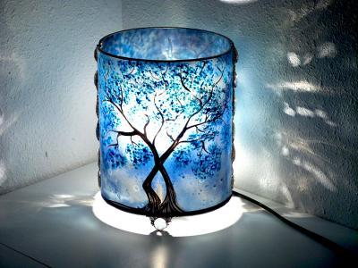 Lampe en verre arbre bleu