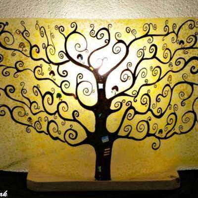 Lampe décorative jaune Arbre de vie