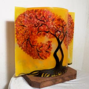 Lampe arbre tortueux jaune orange 2