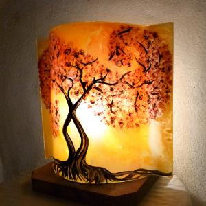 Lampe arbre tortueux jaune orange 7