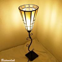 Lampe abat-jour vitrail jaune de forme conique