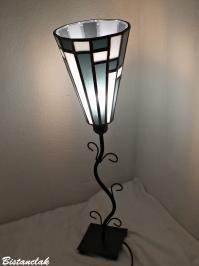 Lampe abat-jour vitrail noir et blanc