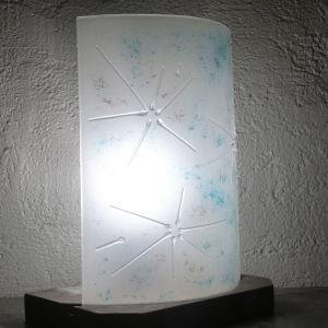 Lampe blanche touche turquoise et mauve fleur d hiver