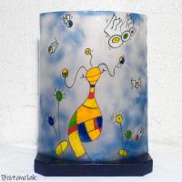 Lampe bleu et multicolore motif globulle