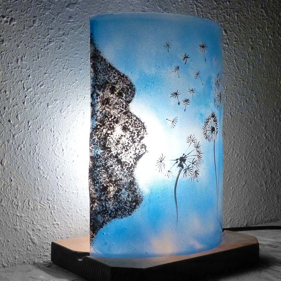 Lampe bleu l envol du pissenlit