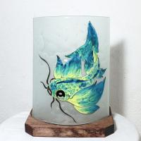 Lampe à poser décorative motif poisson jaune et bleu