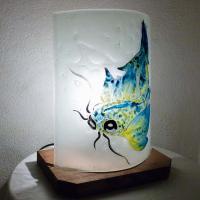 Lampe carpe jaune turquoise5 5
