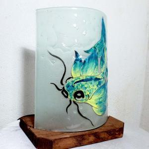 Lampe carpe jaune turquoise6