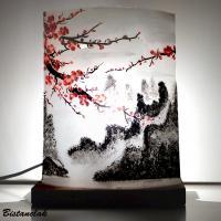 Lampe demi-cylindre décorative motif fleurs de cerisier du japon